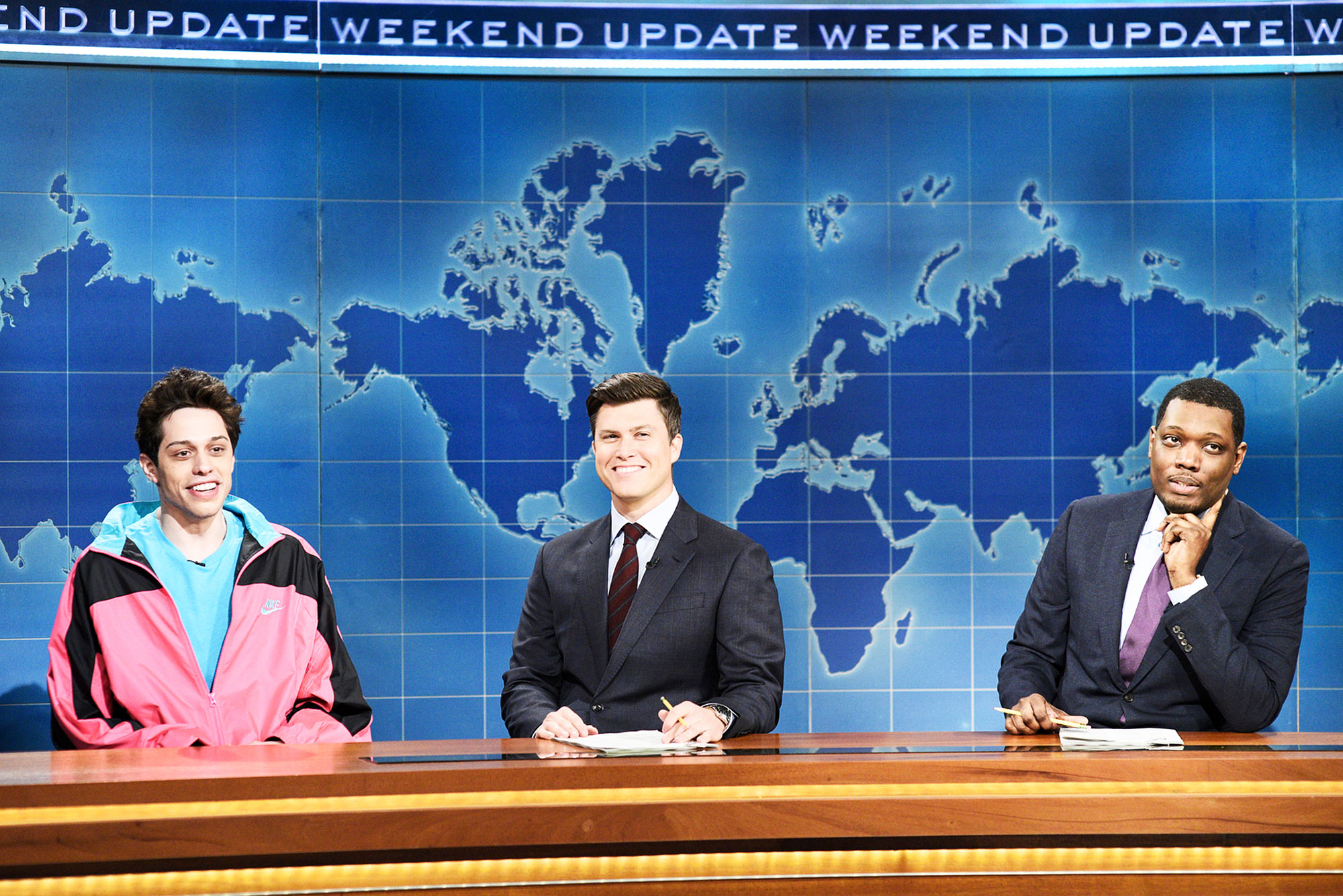 Is Pete Davidson Leaving Saturday Night Live Pete Davidson Colin Jost and Michael Che on Weekend Update on Saturday Night Live
