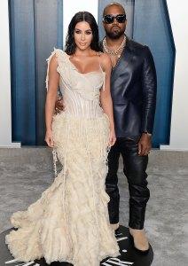 Kim Kardashian and Kanye West at Vanity Fair's 2020 Oscar Party