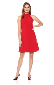 Lark & Ro Women's Sleeveless Mock Neck A-Line Dress (Red)