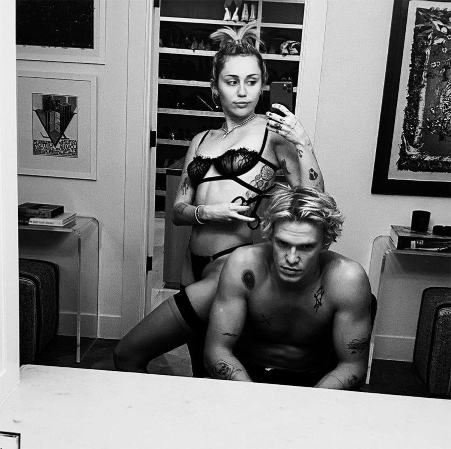 Miley Cyrus Gives Boyfriend Cody Simpson a Haircut in Lingerie