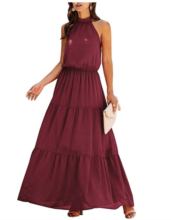 PRETTYGARDEN Vestido largo sin mangas con cuello halter informal para mujer (rojo vino)