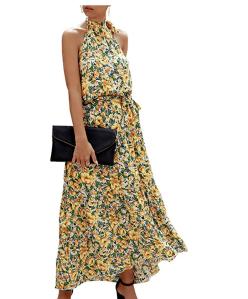 PRETTYGARDEN Women's Casual Halter Neck Sleeveless Maxi Dress (Yellow)