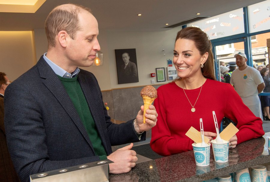 Prince William and Catherine Duchess of Cambridge Kate Middleton Eat Ice Cream