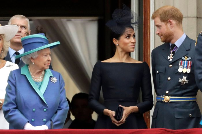 Buckingham Palace Queen Elizabeth II, Meghan Markle the Duchess of Sussex and Prince Harry