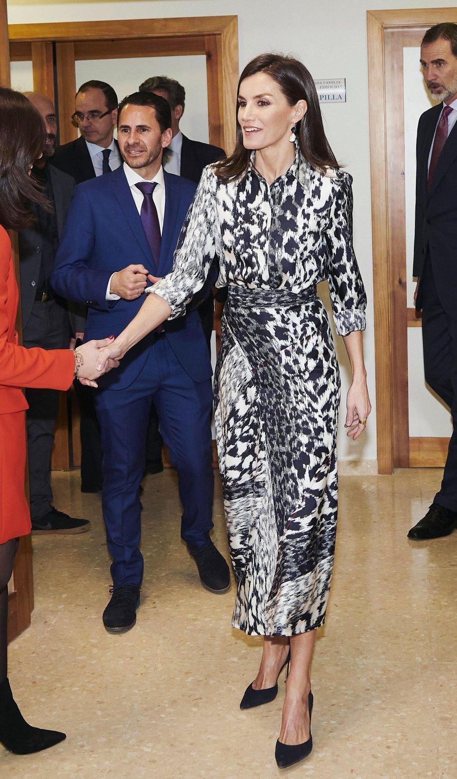 Queen Letizia Animal Print Dress February 6, 2020