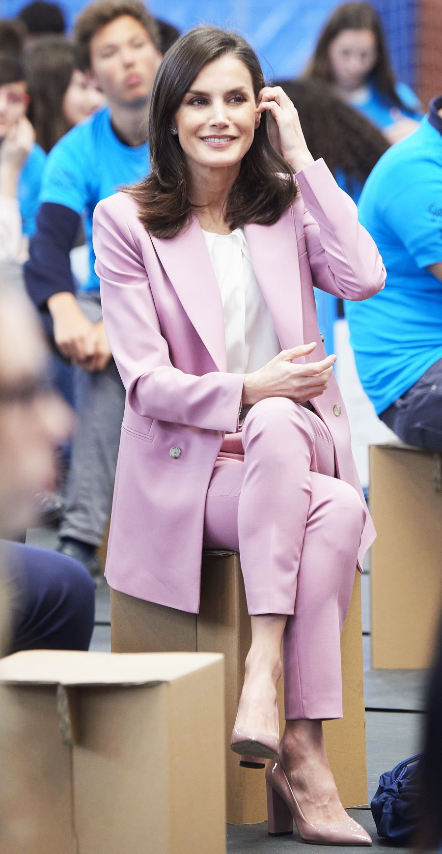 Queen Letizia Chic Pantsuit February 12, 2020
