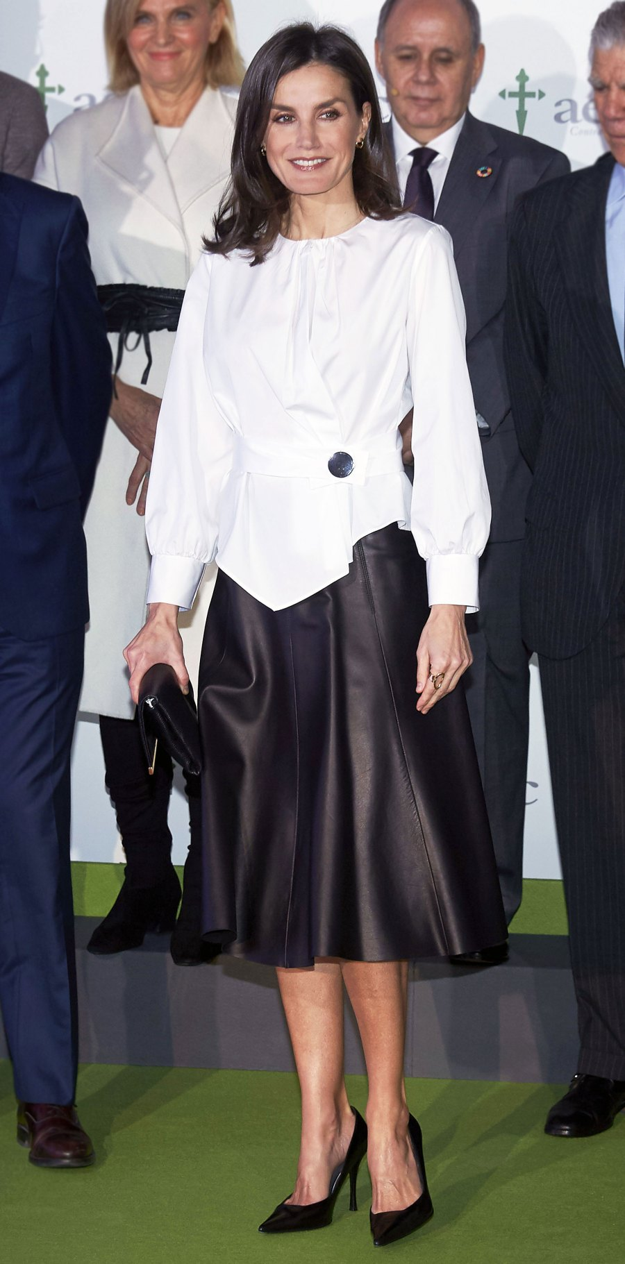 Queen Letizia Leather Skirt February 4, 2020