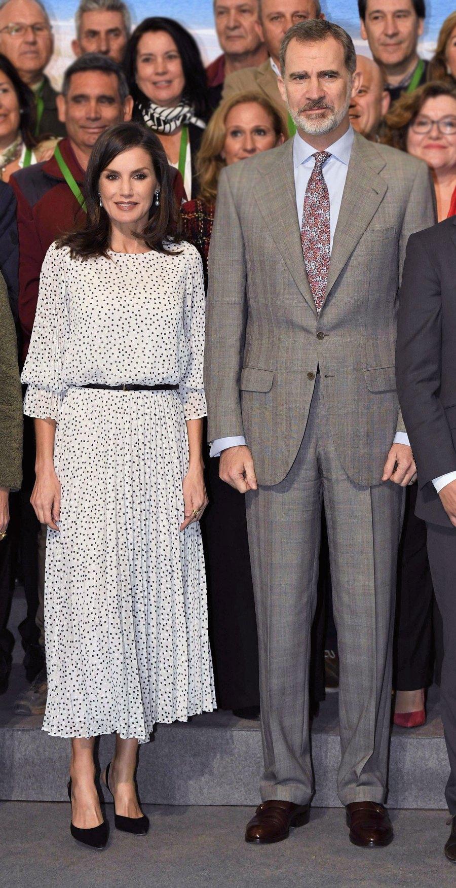Queen Letizia Polka-Dot Dress February 14, 2020