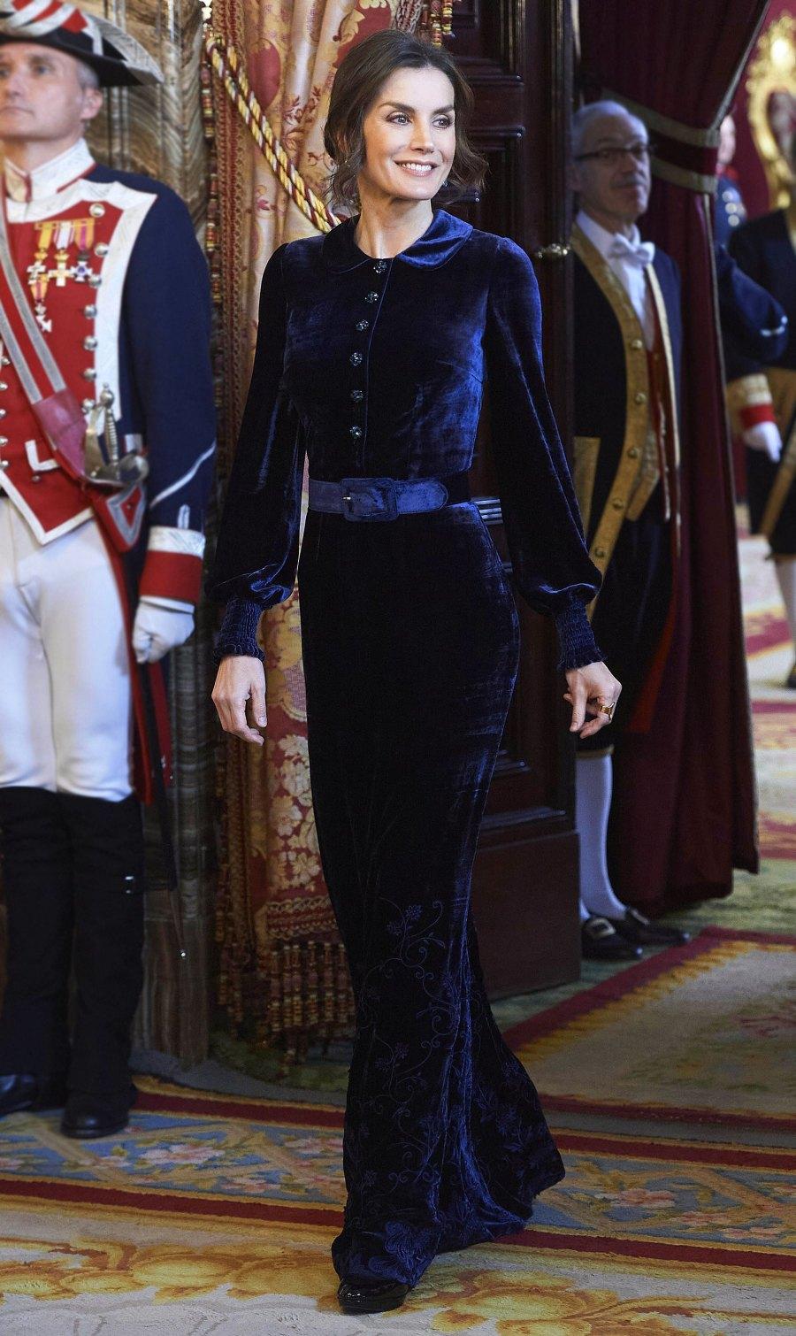 Queen Letizia Velvet Dress February 5, 2020