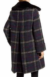Sam Edelman Plaid Bouclé Wool Blend Coat with Faux Fur Trim