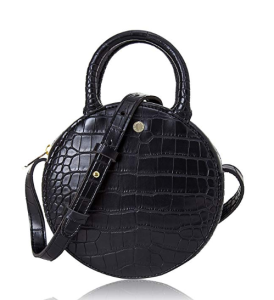 The Lovely Tote Co.Canteen Purse Circle Crossbody Bag (Black)