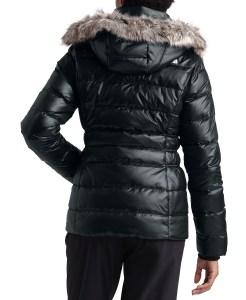 The North Face Women's Gotham Hooded Faux-Fur-Trim Parka Coat (Matte Black Shine)