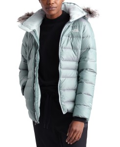 The North Face Women's Gotham Hooded Faux-Fur-Trim Parka Coat (Blue Frost Iridescent)