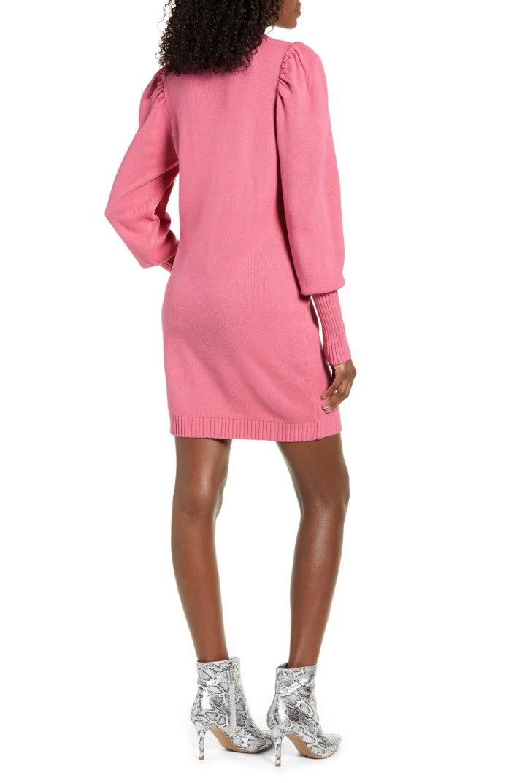 WAYF x Influencers San Francisco Puff Sleeve Sweater Dress (Pink)
