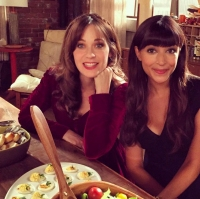 Zooey-Deschanel-and-Hannah-Simone-snacking-on-set