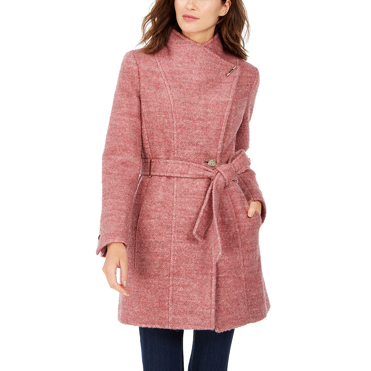 Calvin Klein Belted Toggle Wrap Coat