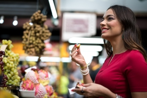 Woman Visiting Fruit Market