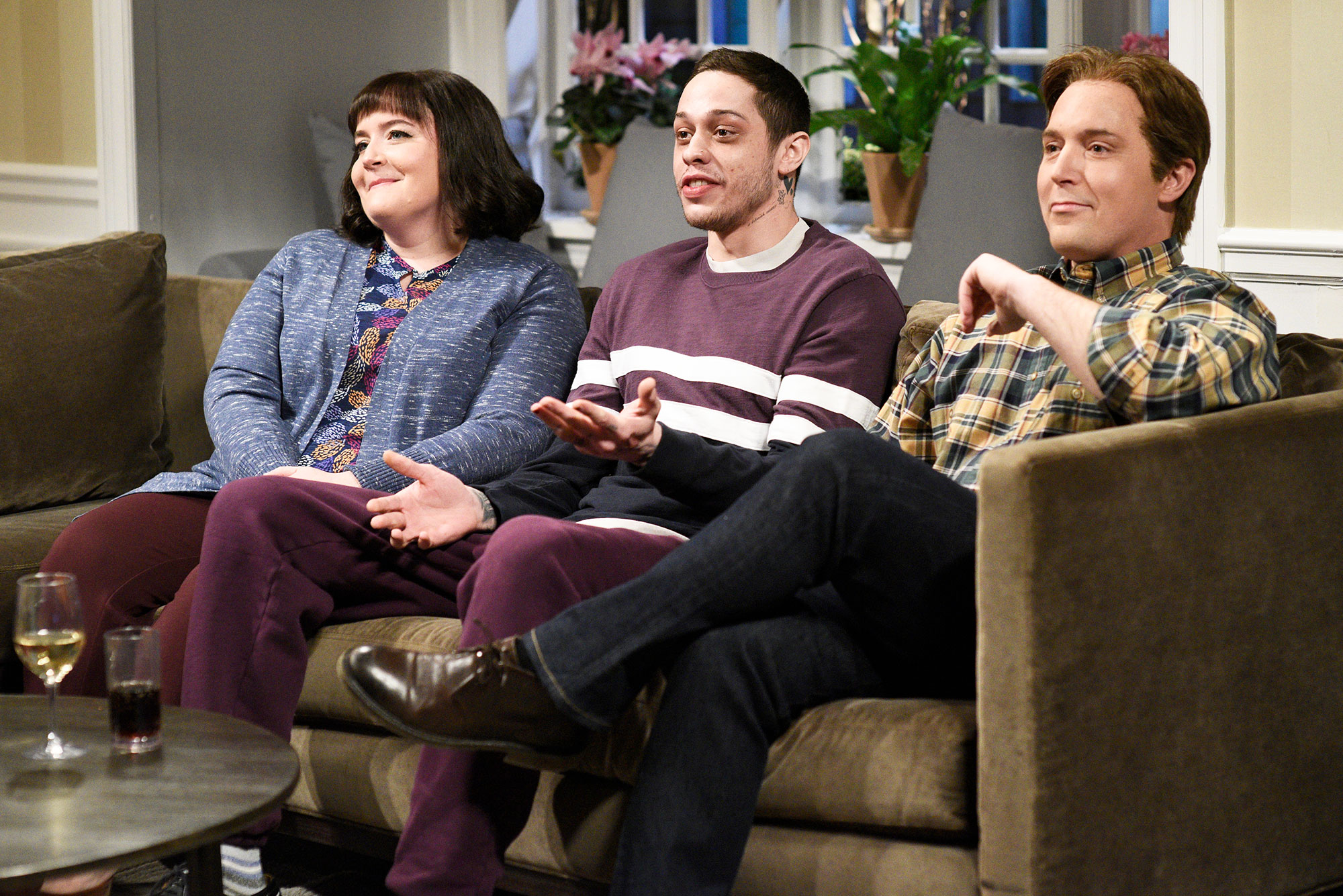 Aidy Bryant Pete Davidson and Beck Bennett on Saturday Night Live Pete Davidson Skips Saturday Night Live Party After Slamming the Show