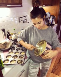 Aly Raisman Making banana bread muffins with chocolate chips