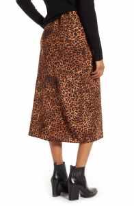 Bobeau Lyndon Bias Cut Midi Skirt (Textured Leopard)