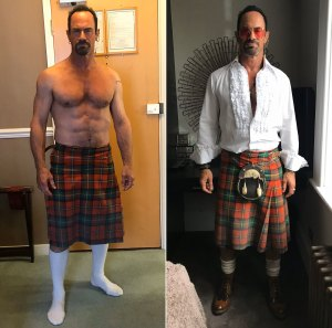 A Shirtless Christopher Meloni Puts on a Kilt to Wear During Quarantine