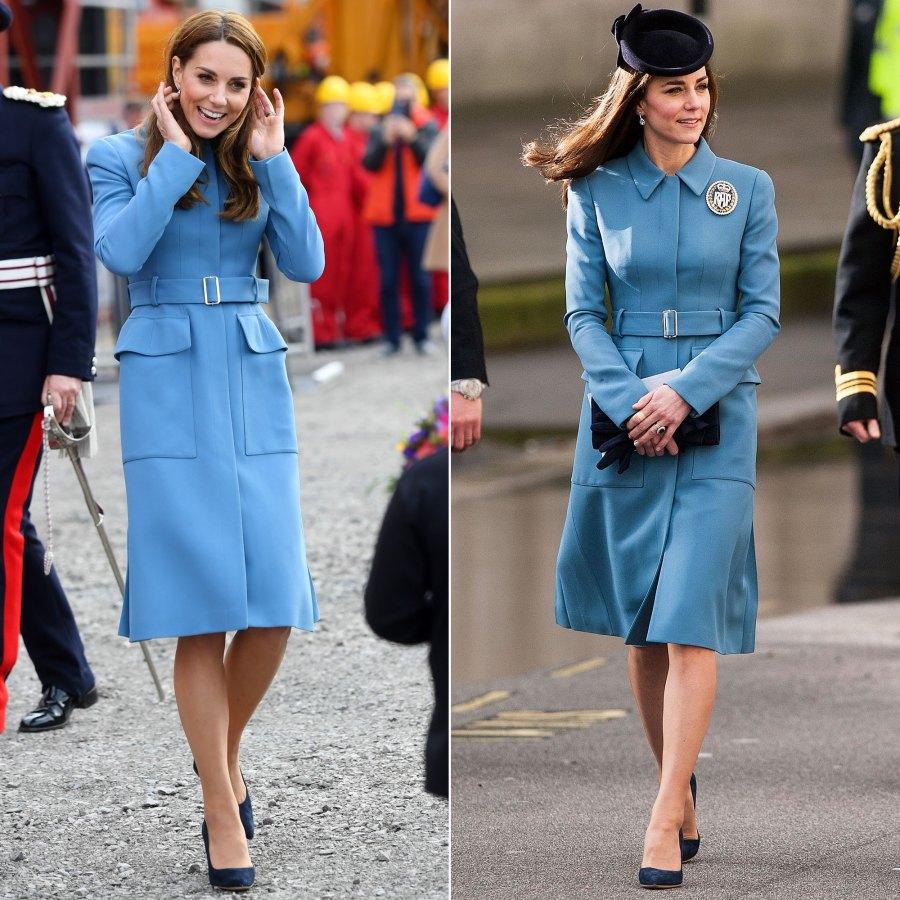 Duchess Kate Middleton's Style Rewears - Blue Alexander McQueen Coat