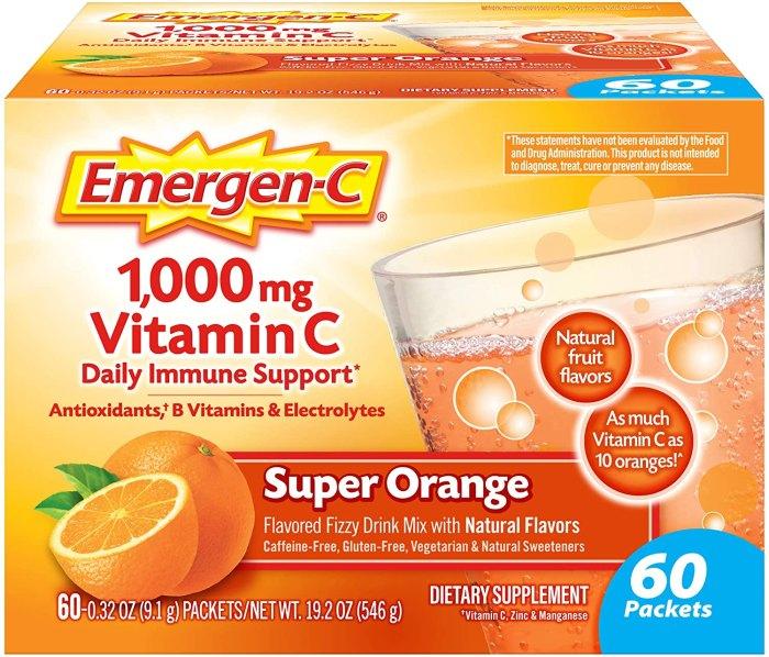 Emergen-C Vitamin C 1000mg Powder (60 Count Super Orange Flavor)