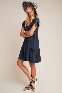 Kathie Flounced Mini Dress (Washed Black)