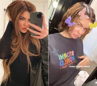 Kylie Jenner Root Touch-up Hair Change