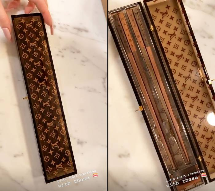 Kylie Jenner Shows Off New Louis Vuitton Chopsticks While in Quarantine