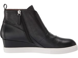 LINEA Paolo Anna Wedge Sneaker (Black Perforated Nappa Leather)