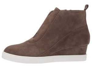 LINEA Paolo Anna Wedge Sneaker (Dark Olive Suede)