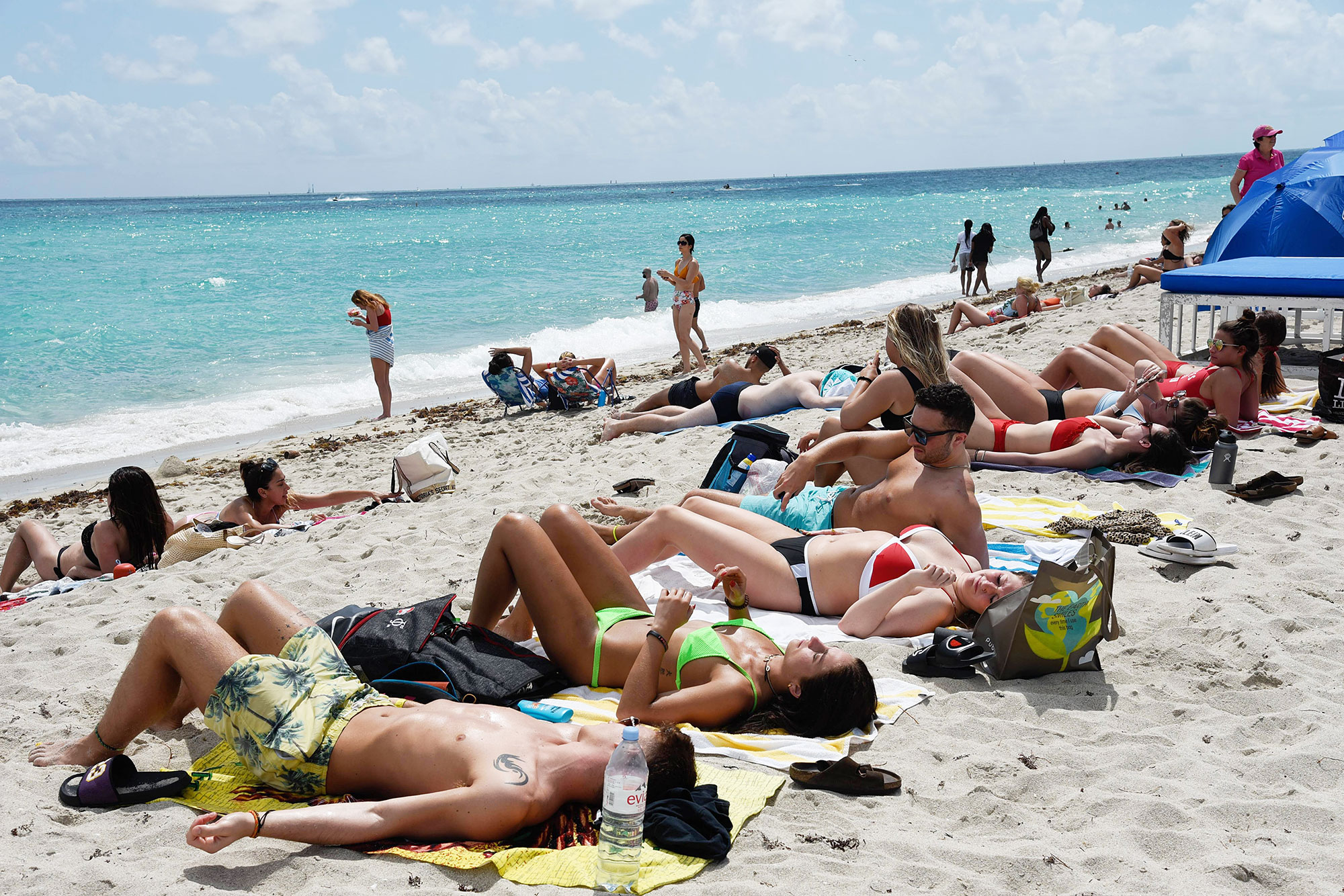 People on Miami Beach on During the Coronavirus Scare