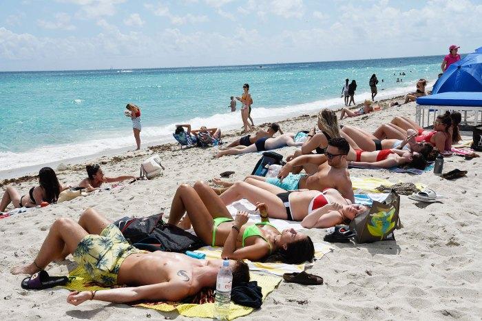 People on Miami Beach on During the Coronavirus Scare