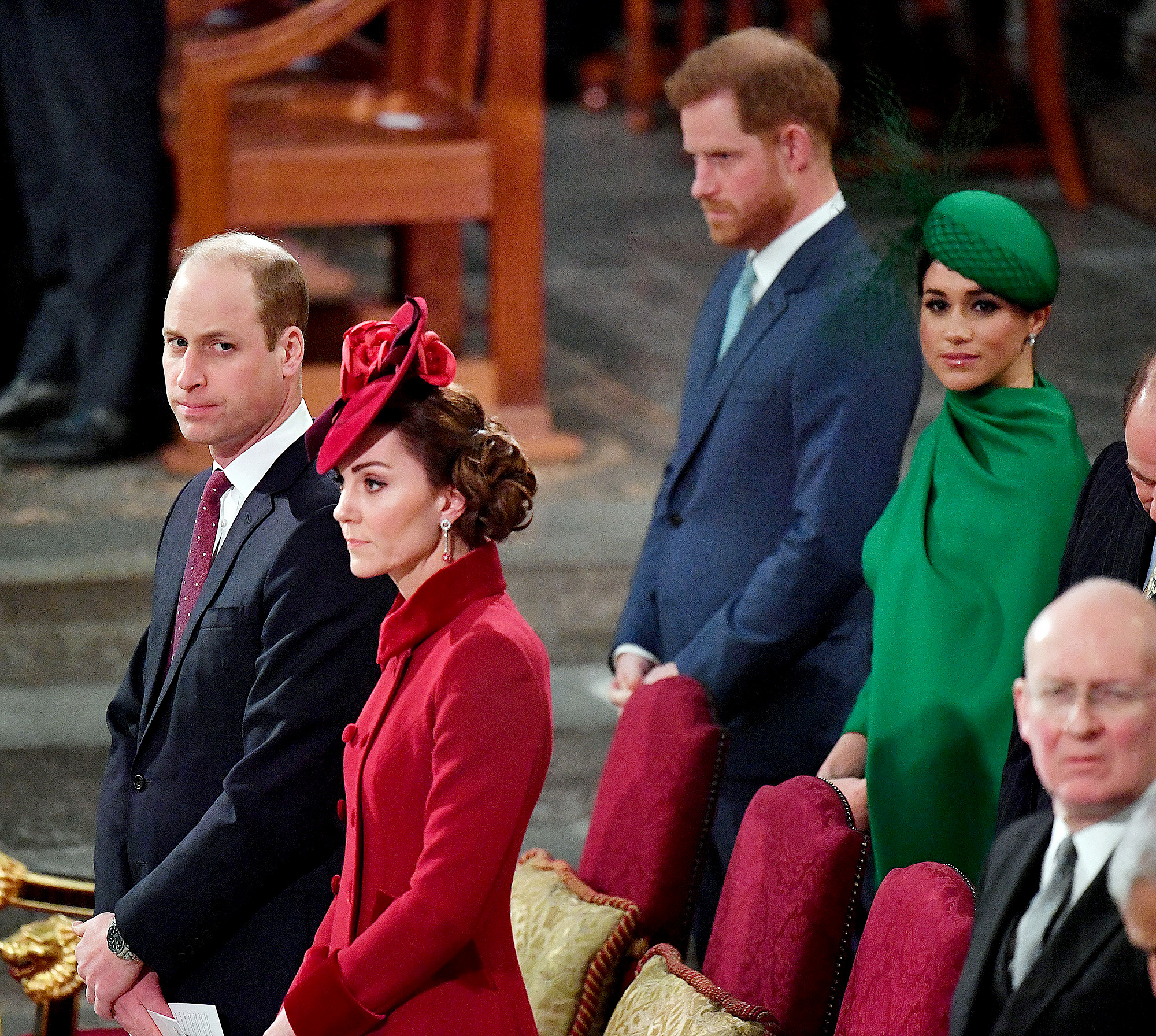 Prince William and Duchess Kate Seemingly Ignore Prince Harry and Meghan Markle at Commonwealth Service
