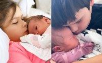 Teddi Mellencamps kids snuggled up to their infant sister Dove