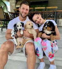Tim Tebow and Demi-Leigh Nel-Peters Welcome Three New Puppies