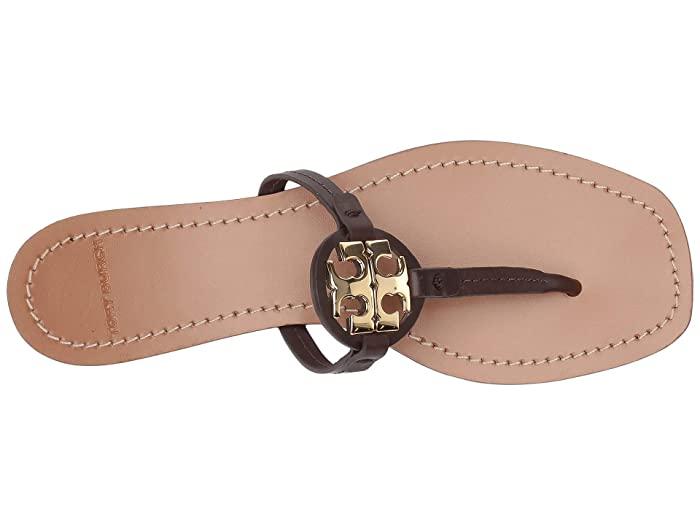 Tory Burch Mini Miller Leather Thong (Black Cherry)