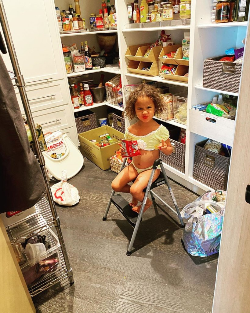 Chrissy Teigen Catches Daughter Luna Snacking in the Pantry