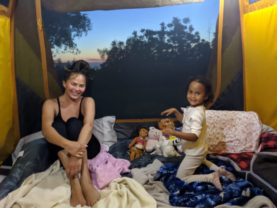 Chrissy Teigen Takes Daughter Luna Backyard Camping During Quarantine