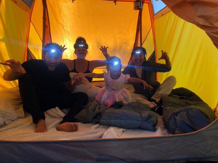 Chrissy Teigen Takes Daughter Luna Backyard Camping During Quarantine