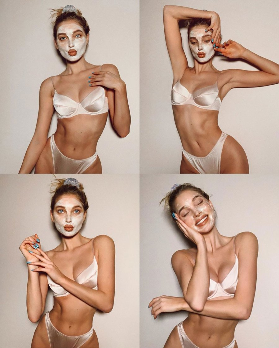Elsa Hosk Accessorizes a Face Mask with Nude Lingerie