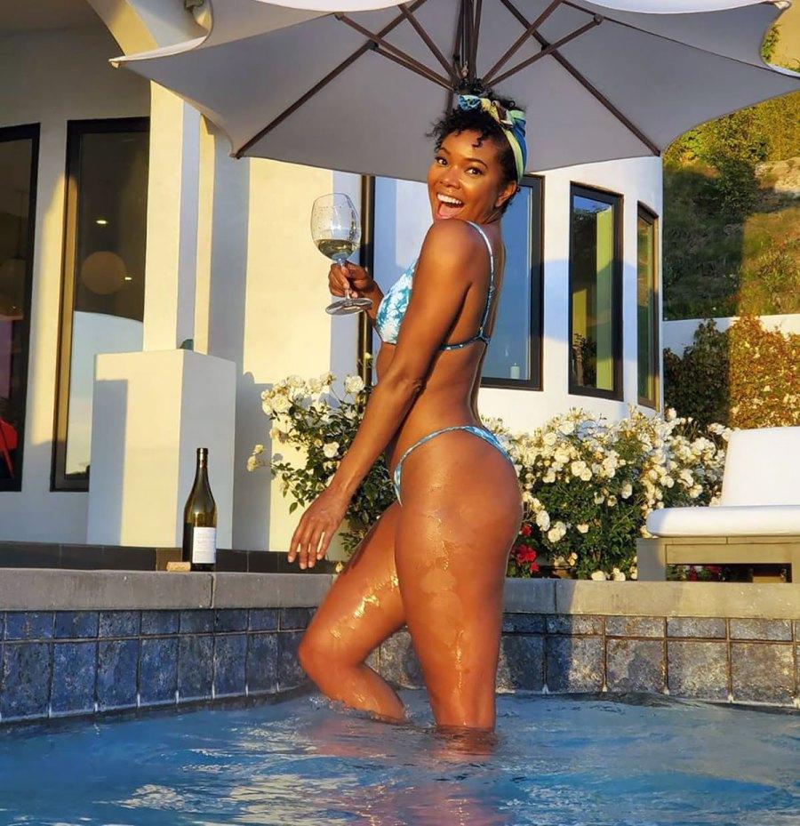 Gabrielle Union Slays in a Blue Bikini Poolside