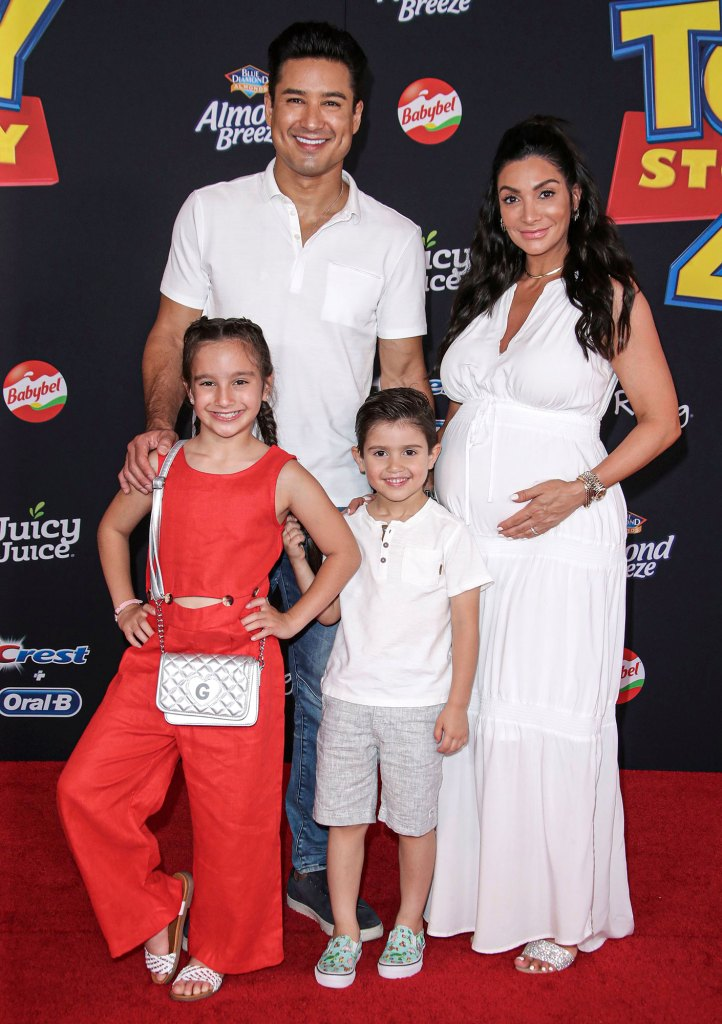 Gia Francesca Lopez, Mario Lopez, Dominic Lopez and Courtney Mazza Toy Story 4 Quarantine Baby
