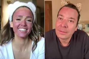 Jessica Alba and Jimmy Fallon Face Mask Together on Zoom