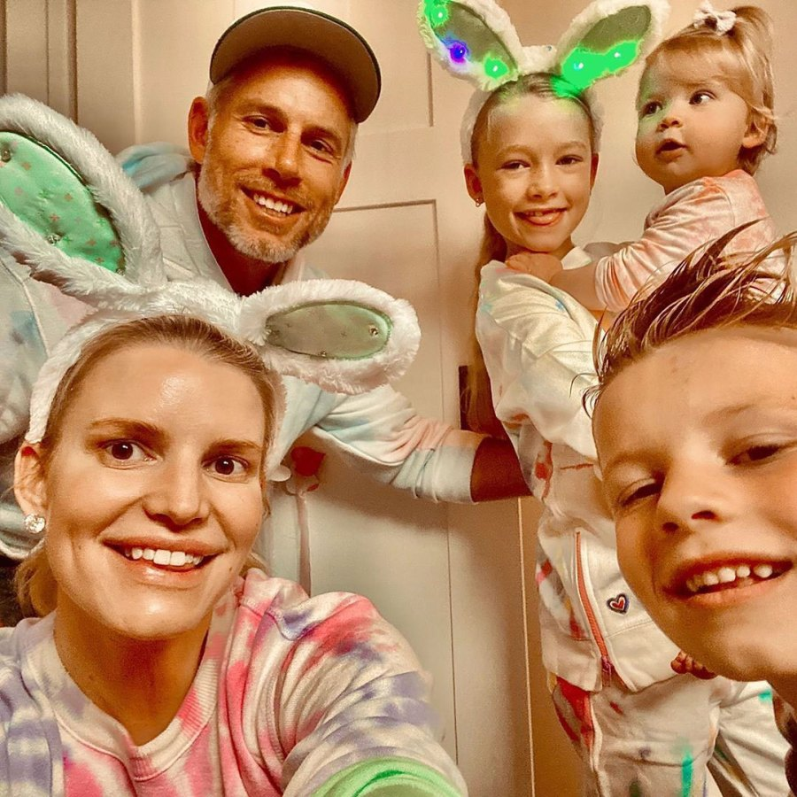 Jessica Simpson Eric Johnson Maxwell Ace and Birdie Jessica Simpson Shares a Look Inside Her Familys Different Kind of Easter Amid Quarantine