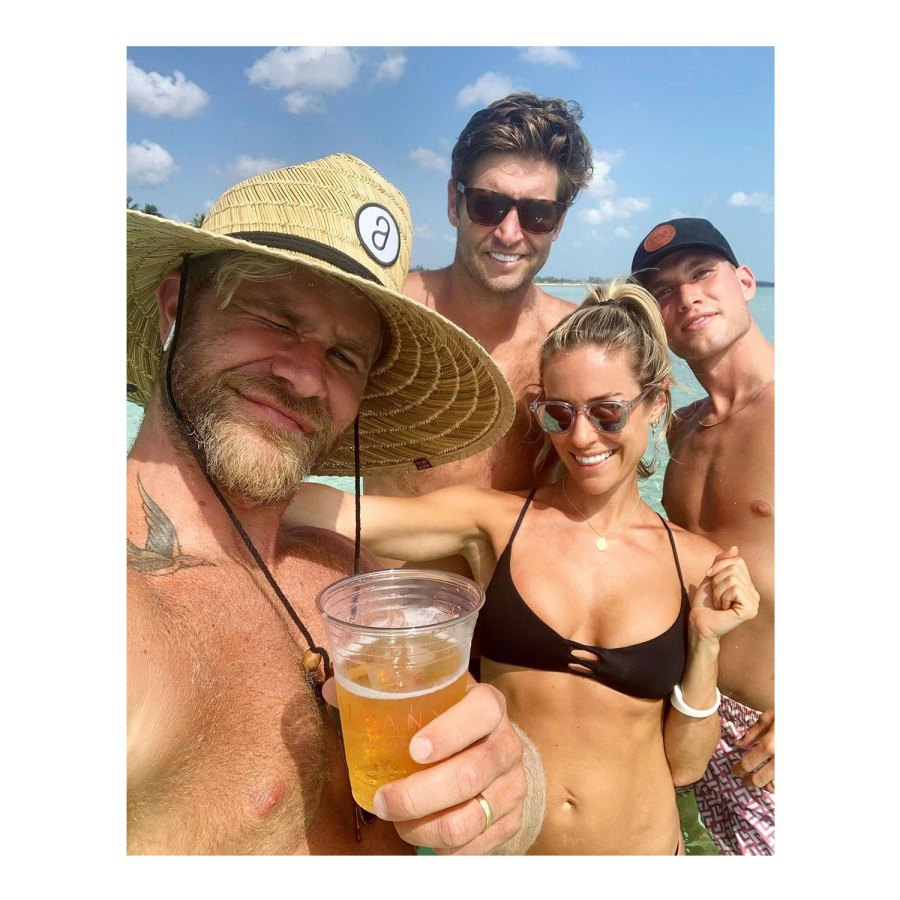 Kristin Cavallari, Jay Cutler Separated When They Left the Bahamas Justin Anderson, Jay Cutler, Kristin Cavallari, and Austin Rhodes Instagram Beach Drink Straw Hat