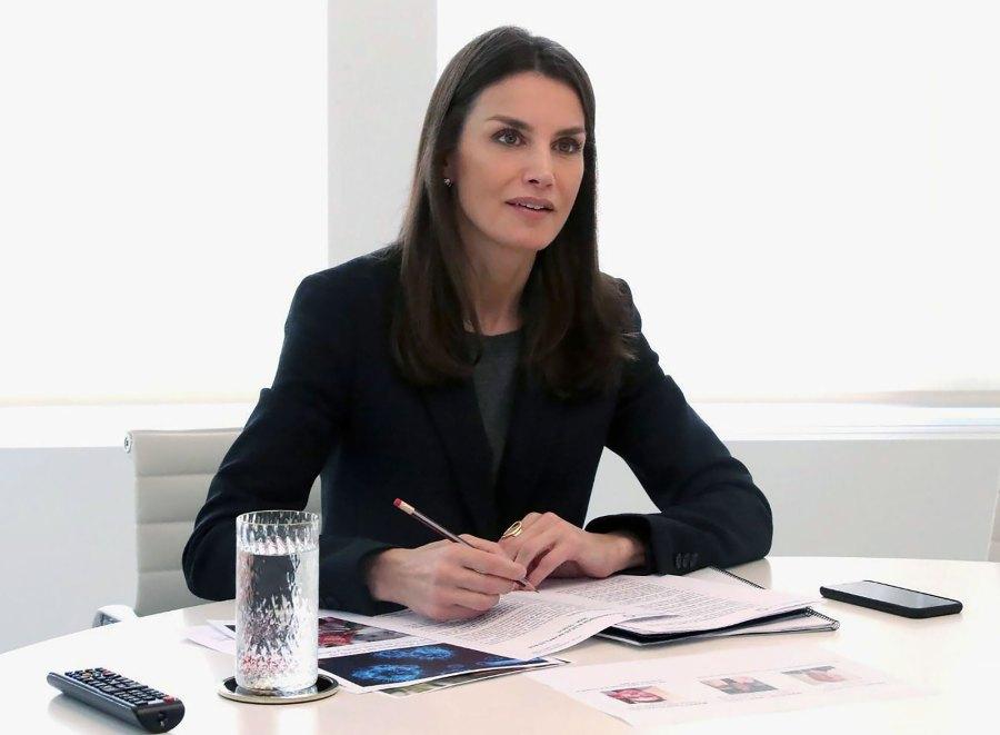 Queen Letizia Black Suit April 6, 2020