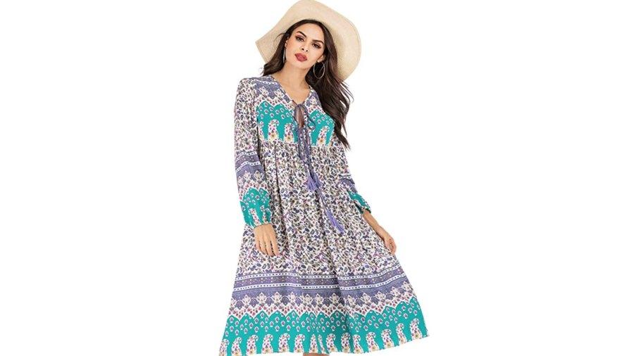 R.Vivimos Women's Long Sleeve Bohemian Midi Dress