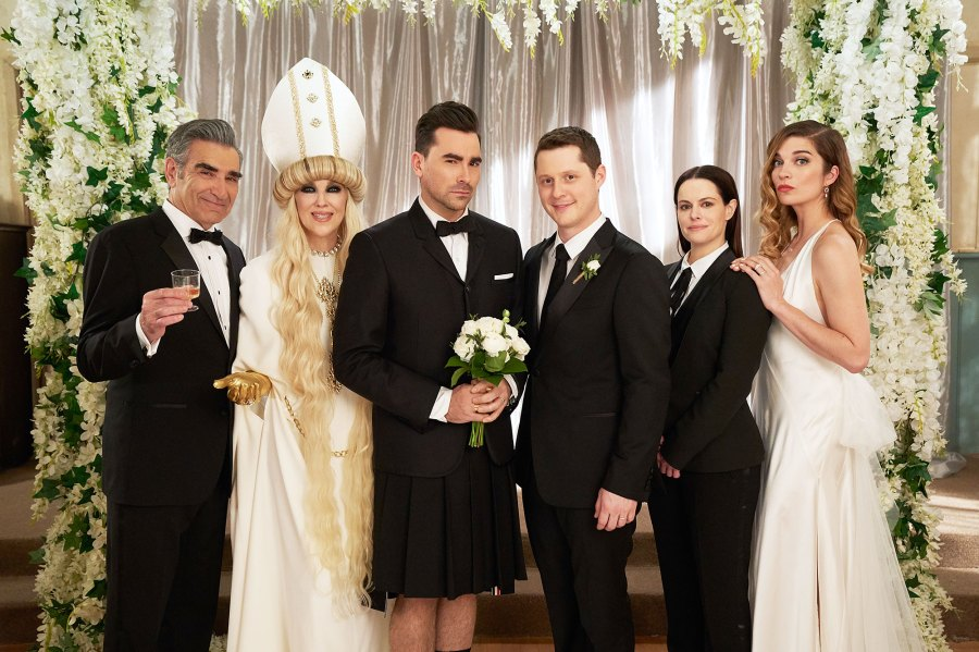 Eugene Levy as Johnny Catherine O'Hara as Moira Dan Levy as David Noah Reid as Patrick Emily Hampshire as Stevie and Annie Murphy as Alexis in the series finale of Schitts Creek